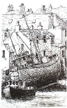Pen drawing of Hastings from West Hill