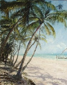 Painting of beach in Zanzibar