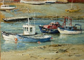 Painting of Fishing Boats moored on the River Adur, Shoreham by Sea
