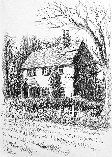 pen drawing of a cottage, Lancing