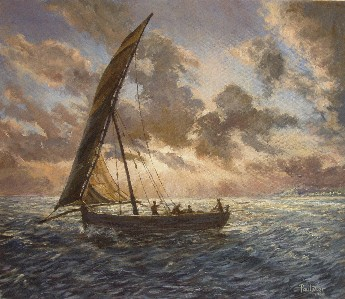 Painting of Fishing Dhows off Kenya Coast