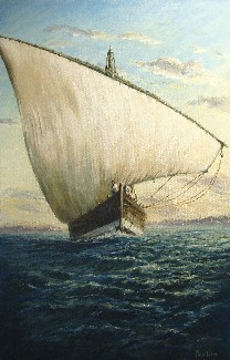 Painting of Arab Dhow off Zanzibar