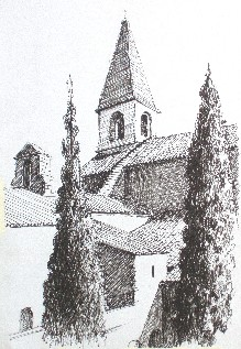 Pen drawing of Abbaye du Thoronet, Provence