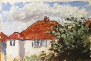 Painting of A White House, Lancing