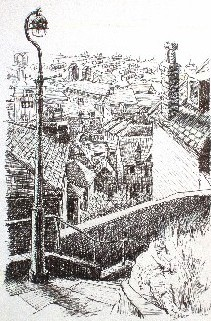 Pen drawing of the old Toll Bridge, Shoreham