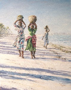 Painting of women returning from the market