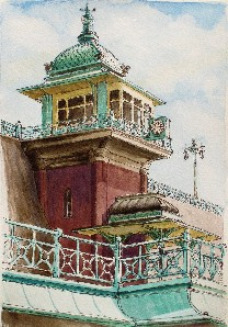 Painting of the Madeira Drive Lift, Brighton
