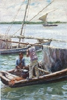 Painting of Kenyan Fishermen Cooking Lunch